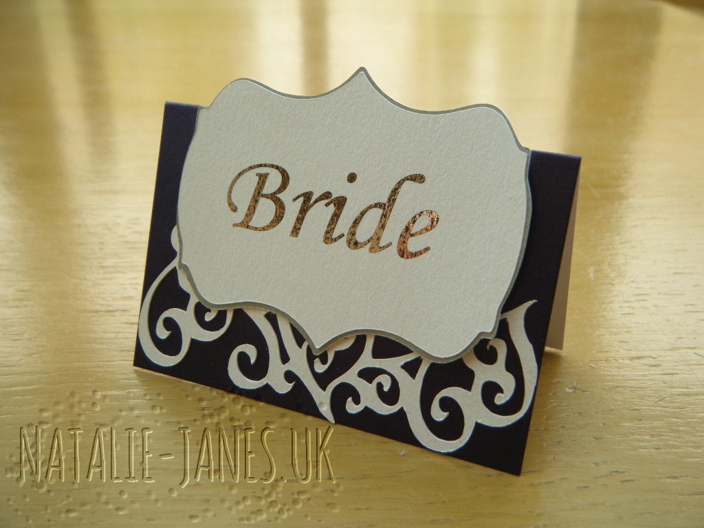 Swirl Trim and shape 'Bride' is printed on cut with Cricut