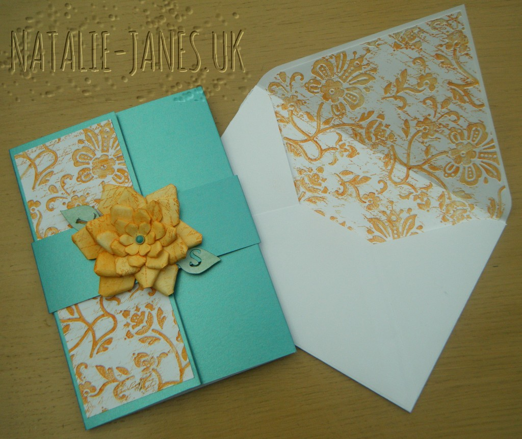 Invite Panel and Envelope Liner Inked and debossed with Distress Ink